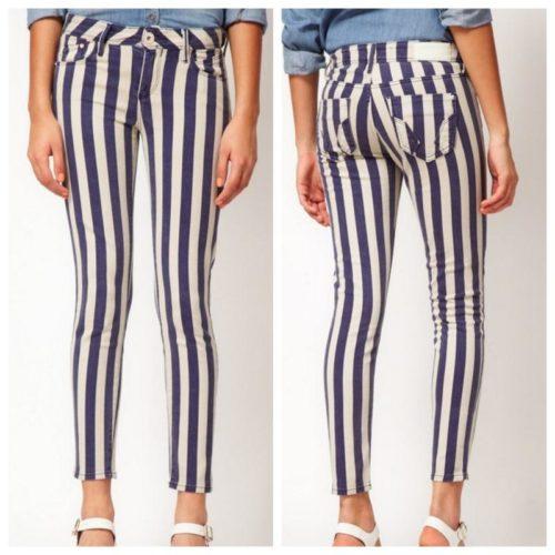 Полосатые джинсы: с чем носить