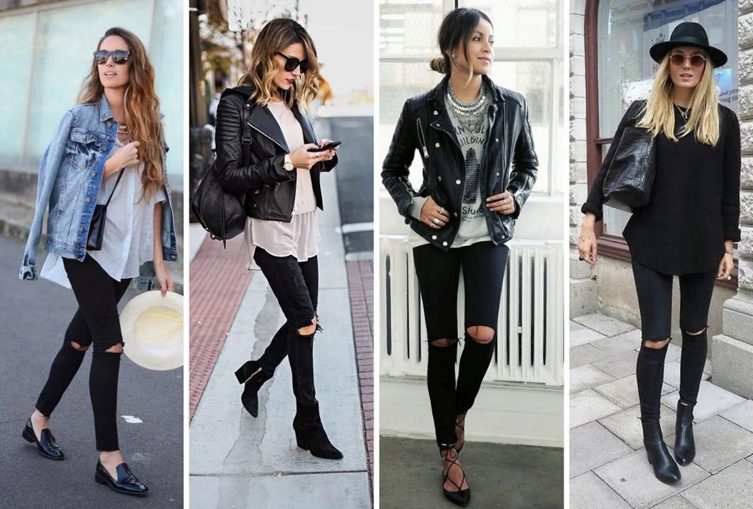 черный джинсы рваные