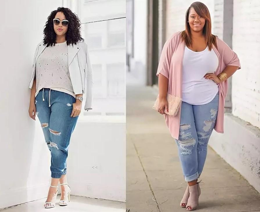 джинсы рваные для полных