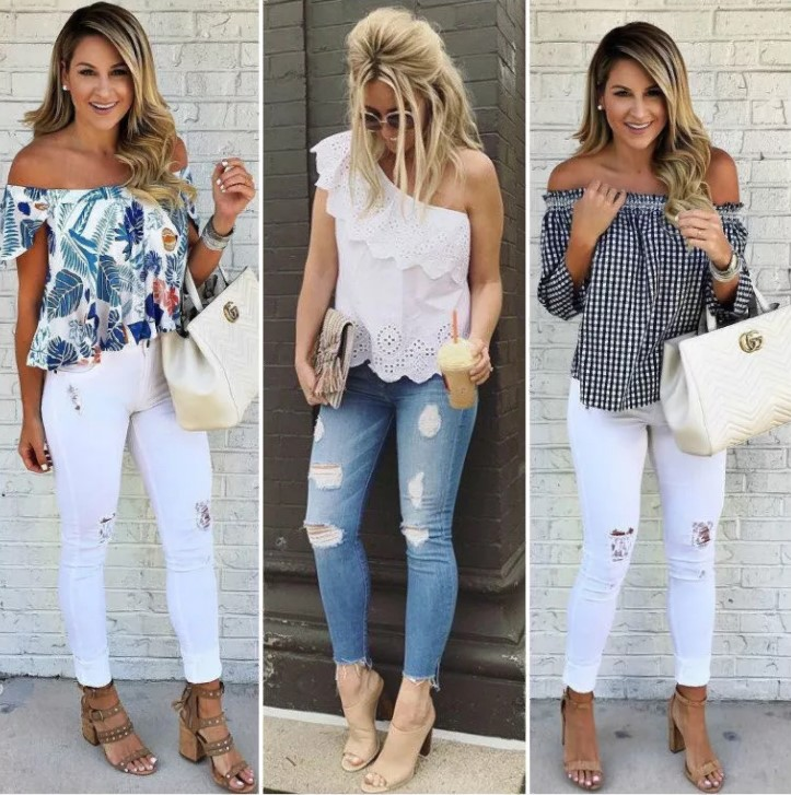 джинсы рваные разных цветов