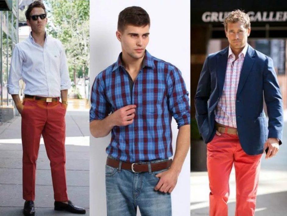 джинсы красные мужские