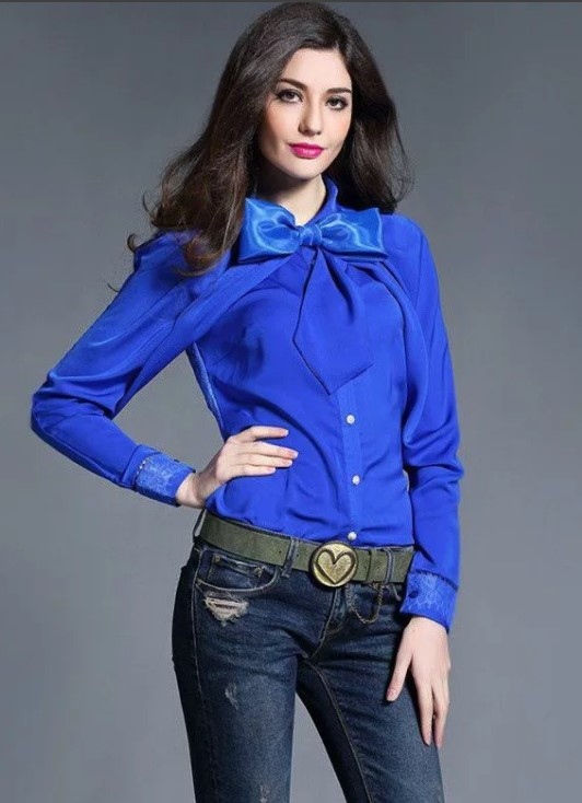 рубашка синяя с бантом