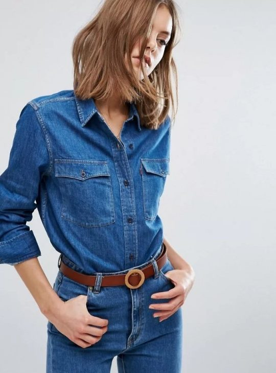 рубашка деним джинсовая