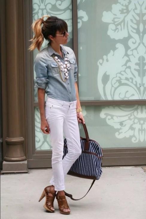 джинсы с джинсовой рубашкой
