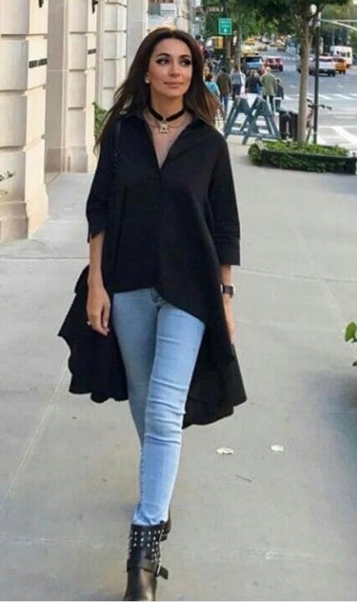 рубашка длинная черная