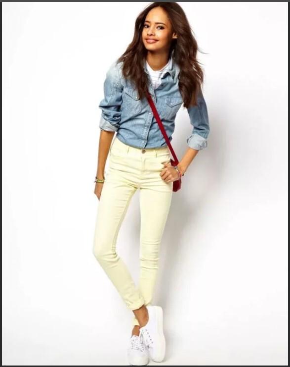 светлые джинсы желтоватые
