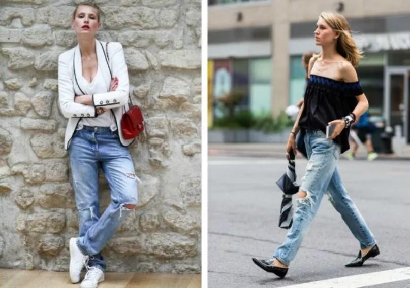 джинсы широкие рваные