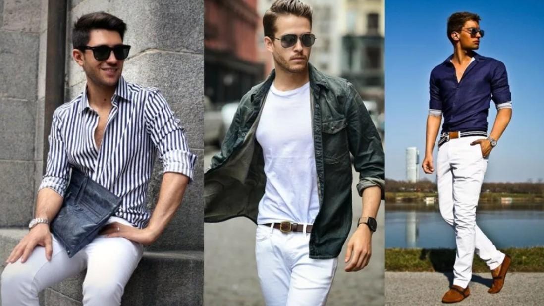 джинсы мужские белые