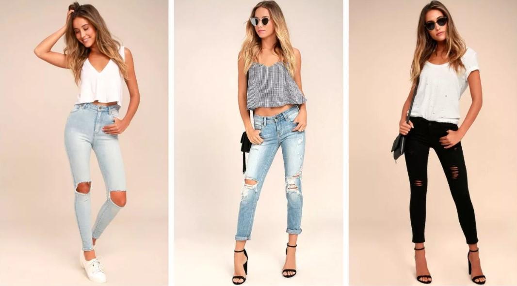джинсы с прорезями на коленях