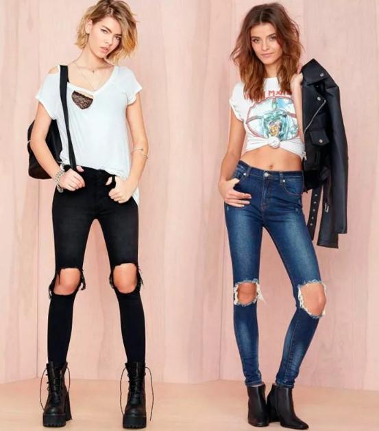 джинсы с прорезями