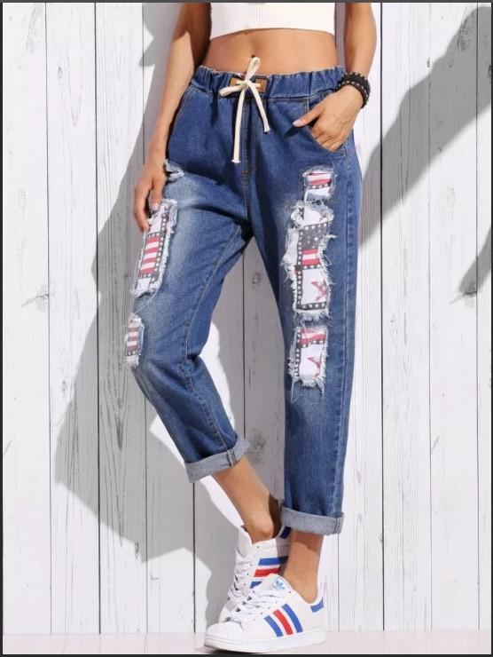 джинсы с латками
