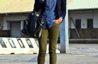 джинсы хаки с джинсовой рубашкой