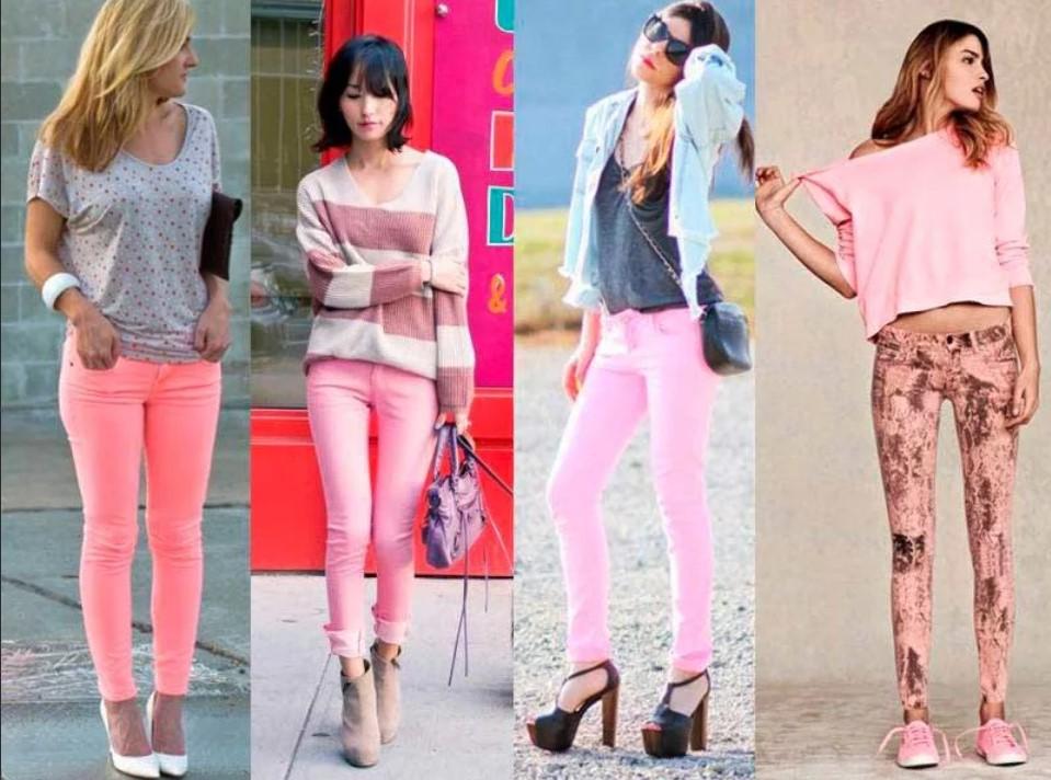 розовые джинсы 4 модели