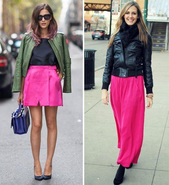 С чем носить юбку цвета фуксии