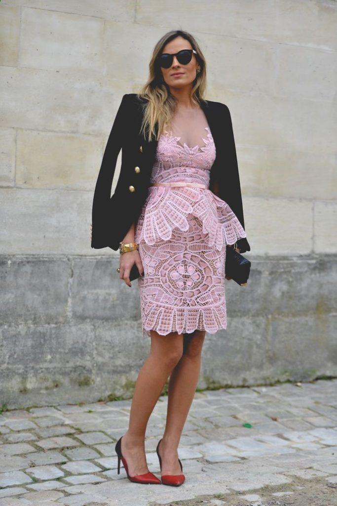 кружевное платье с жакетом