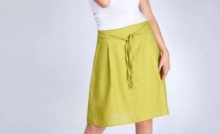 желтая юбка из льна