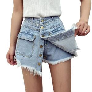 С чем носить юбку-шорты джинсовую
