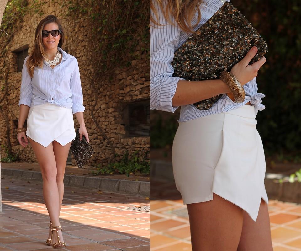 С чем носить юбку-шорты летнюю