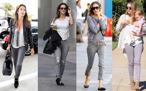 что носить с серыми джинсами