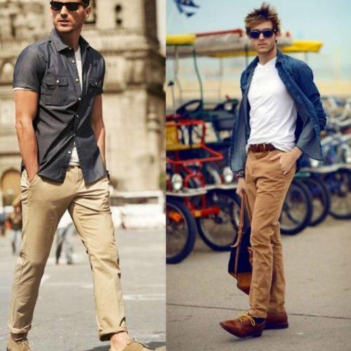 С чем носить бежевые мужские джинсы?