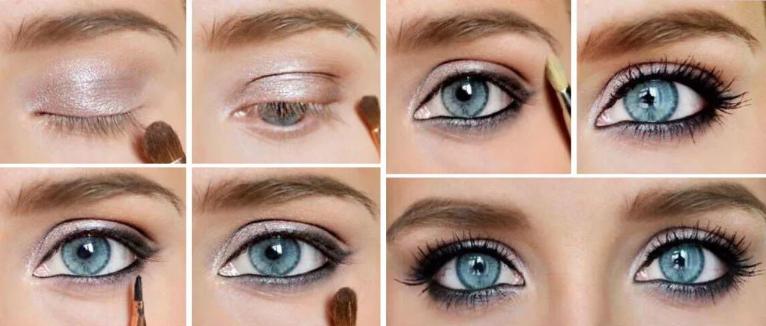 макияж к белому платью голубые глаза