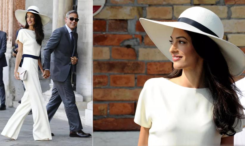 Амаль Клуни в белом брючном костюме