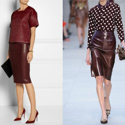 С чем носить бордовую кожаную юбку?
