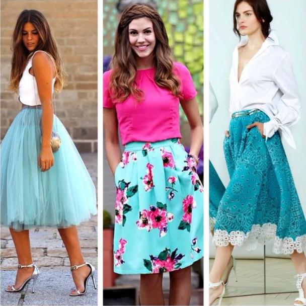 бирюзовая юбка разные материалы