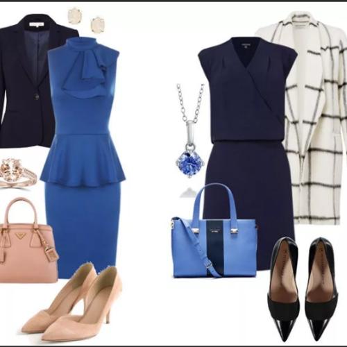 Какие туфли подойдут к синему платью?