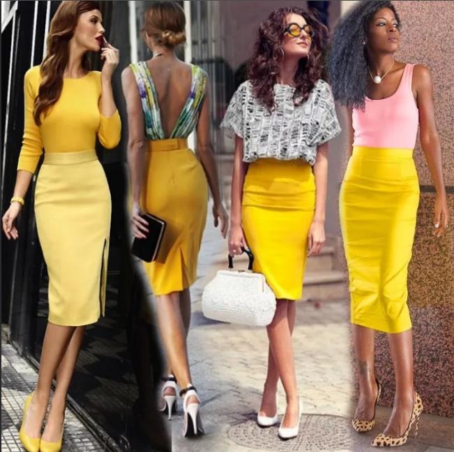 С чем носить жёлтую юбку-карандаш?