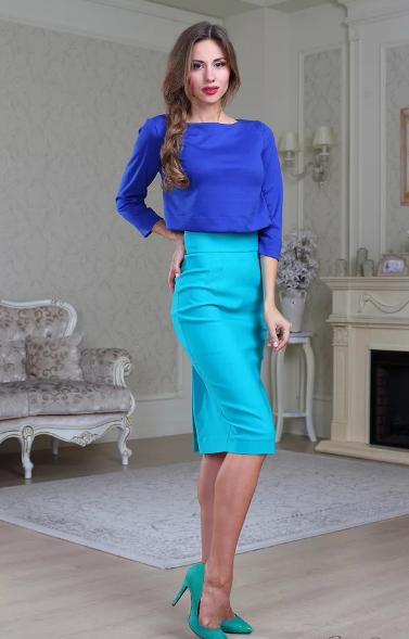 бирюзовая юбка и синяя юбка кобальтовая