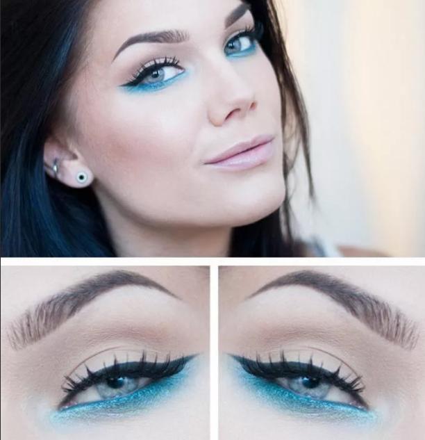 макияж к белому платью с голубой стрелкой