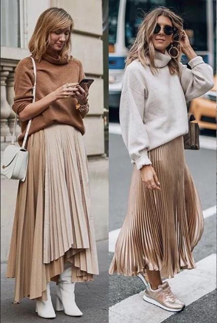 бежевые юбки плиссе со свитерами