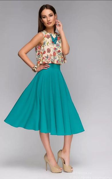 бирюзовая юбка расклешенная солнце