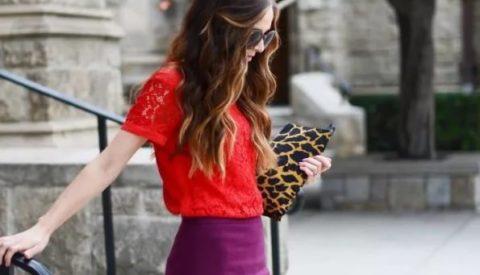 Фиолетовая юбка-карандаш: с чем носить