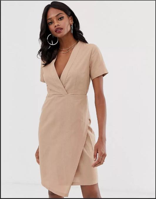 платье халат с запахом беж асимметрия