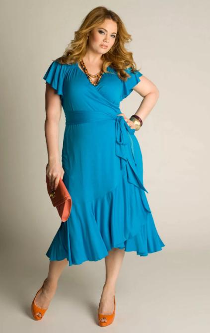 платье халат с запахом голубое для полных