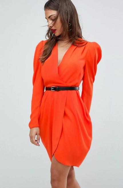 платье халат с запахом красное с поясом