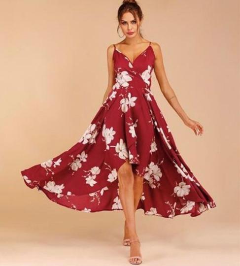 платье халат с запахом красный
