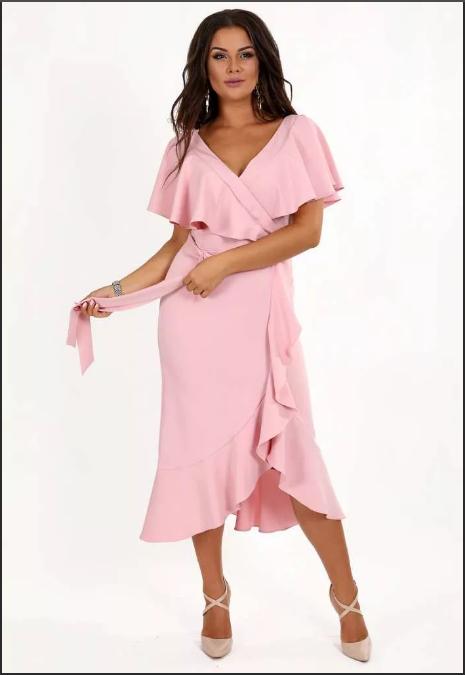 платье халат с запахом розовое