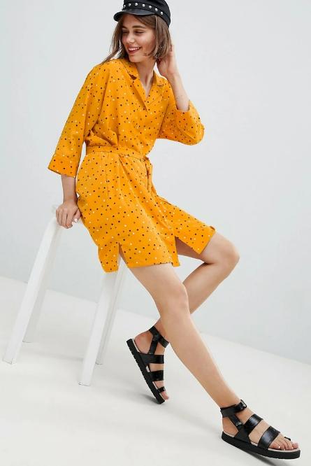 платье рубашка желтое в горошек