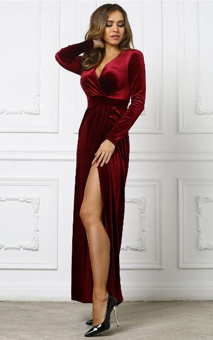 платье с запахом вечернее бордо