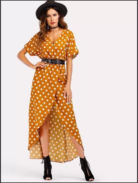Платье с запахом желтое в горошек