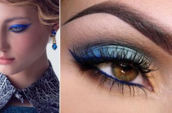 Макияж к синему платью для блондинки