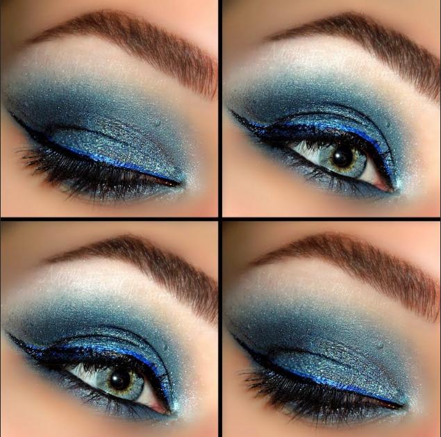 макияж под синее платье для блондинки голубые глаза