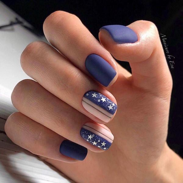 Матовый вечерний синий и нюд