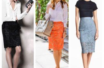 С чем носить кружевную юбку-карандаш