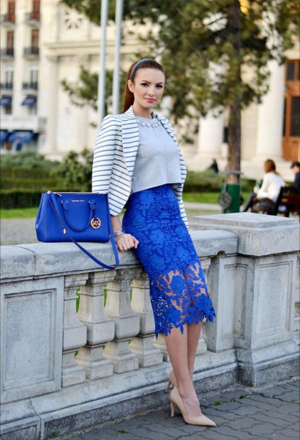 Синяя юбка как базовая деталь женского гардероба 11