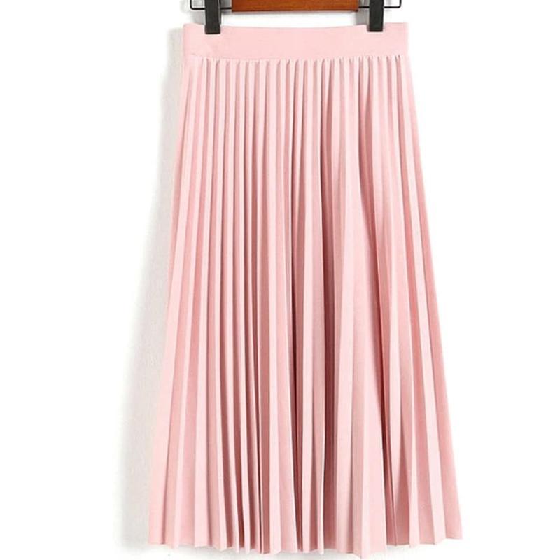 С чем носить юбку-плиссе розового цвета 1