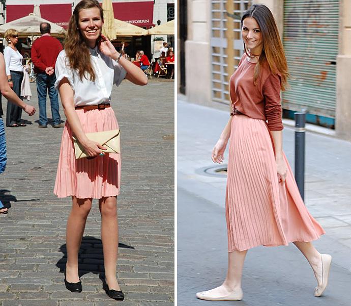 С чем носить розовую юбку плиссе? в повседневной жизни